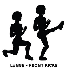 lunges front kicks sport exersice silhouettes of vector image