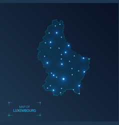 Luxembourg map with cities luminous dots - neon vector