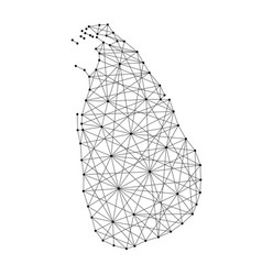 map of sri lanka from polygonal black lines vector image