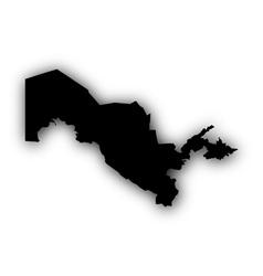 Map of Uzbekistan with shadow vector