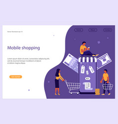 Mobile shopping e-commerce and online store vector