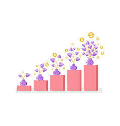 money or profit growth coins growing on plant vector image