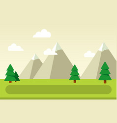 mountain landscape with spruce flat isolated vector image