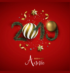 new year 2019 red holiday decoration in french vector image