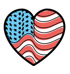 Nice heart with usa flag inside vector