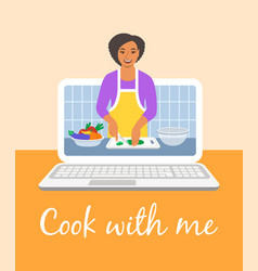 online culinary video tutorial on computer screen vector image