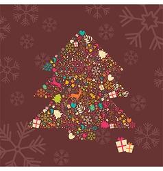 Ornamental Christmas tree with reindeer vector