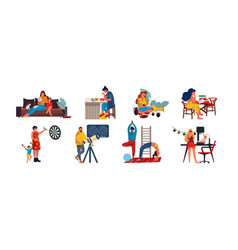 People at home cartoon characters relaxing vector