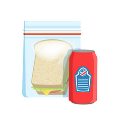 plastic bag with soda drink and sandwich vector image