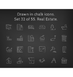 Real estate icon set drawn in chalk vector