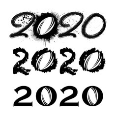 rug2020 new year numbers vector image