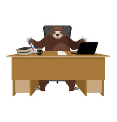 Russian boss bear sitting in an office vector