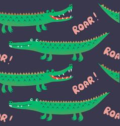 seamless pattern with cute cartoon crocodiles fun vector image