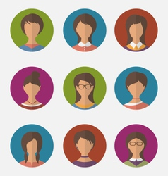 Set colorful female faces circle icons trendy flat vector
