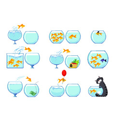 set icons with goldfish and cat characters vector image