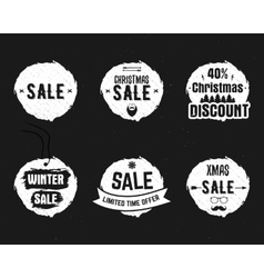 Set of Christmas sale ink watercolor banners vector