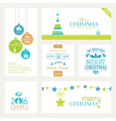Set of flat Christmas labels vector image