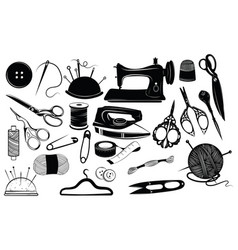 Set tools for sewing and cutting collection of vector