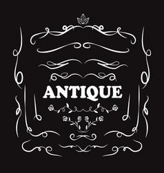 set vintage hand drawn line art retro antique vector image