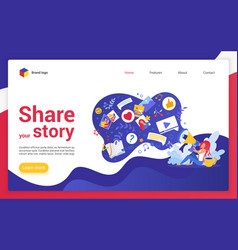 Share your story website landing page cartoon vector