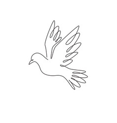 single continuous line drawing adorable flying vector image