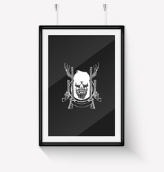 sketch hand drawn hunter skull vector image