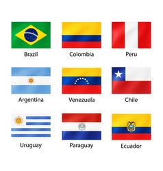 South america flags with captions for travel vector