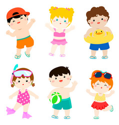 Summer multicultural cute kids in swimsuit vector