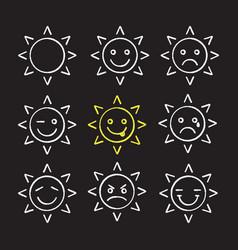 sun smiles chalk icons set vector image