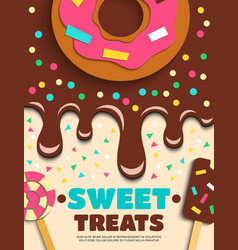 Sweets desserts bakery confectionery poster vector