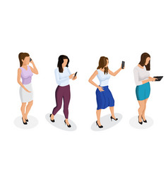 trendy isometric people and gadgets vector image