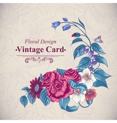 Vintage floral card with roses and wild flowers vector image