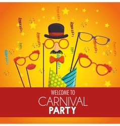 Welcome carnival party mask gentleman glasses hat vector