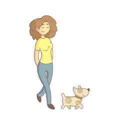 Woman Walking The Dog vector image