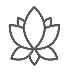 Yoga line icon flower and health lotus sign vector