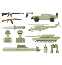 Army Decorative Flat Icons Set vector image vector image