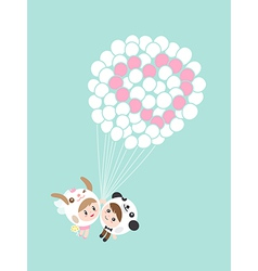 Cute lovely couple boy and girl with balloons cart vector