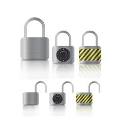 metal securite locked and unlocked padlockers vector image