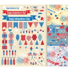 Set of design elements for Independence Day vector image