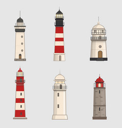 set of different lighthouses on light background vector image vector image