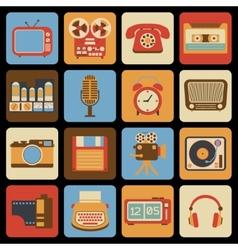 Vintage gadget icons vector image