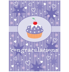 card with a cupcake vector image