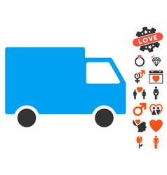 cargo van icon with love bonus vector image