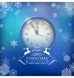 Christmas Typography Clock Background vector image vector image