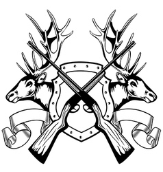 elk heads crossed rifle and board vector image vector image