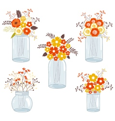 Fall flowers in jars vector