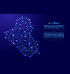 Map of iraq from polygonal blue lines vector