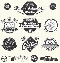 Retro Race Car Champion Labels vector image vector image