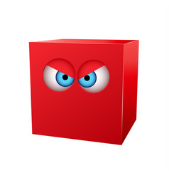 Three-dimensional red cube with eyes vector