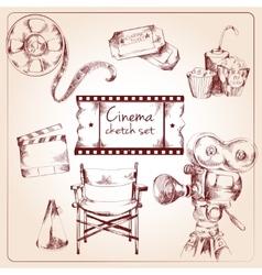 Cinema sketch set vector